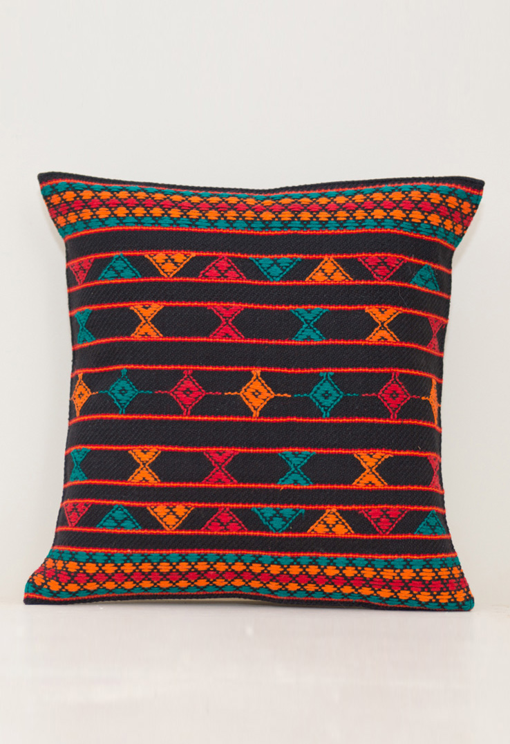 Kutch Weave Throw Pillows Black Bands