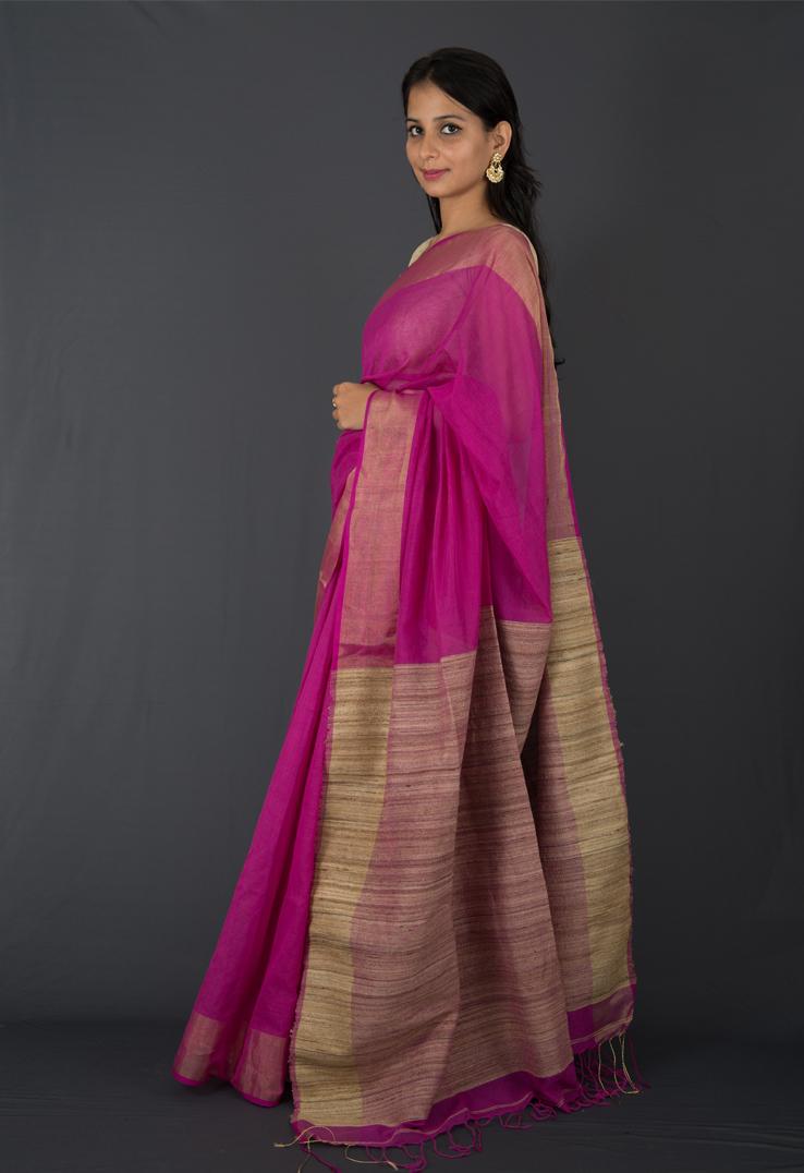 Purple Cotton Silk Saree with Textured Palla