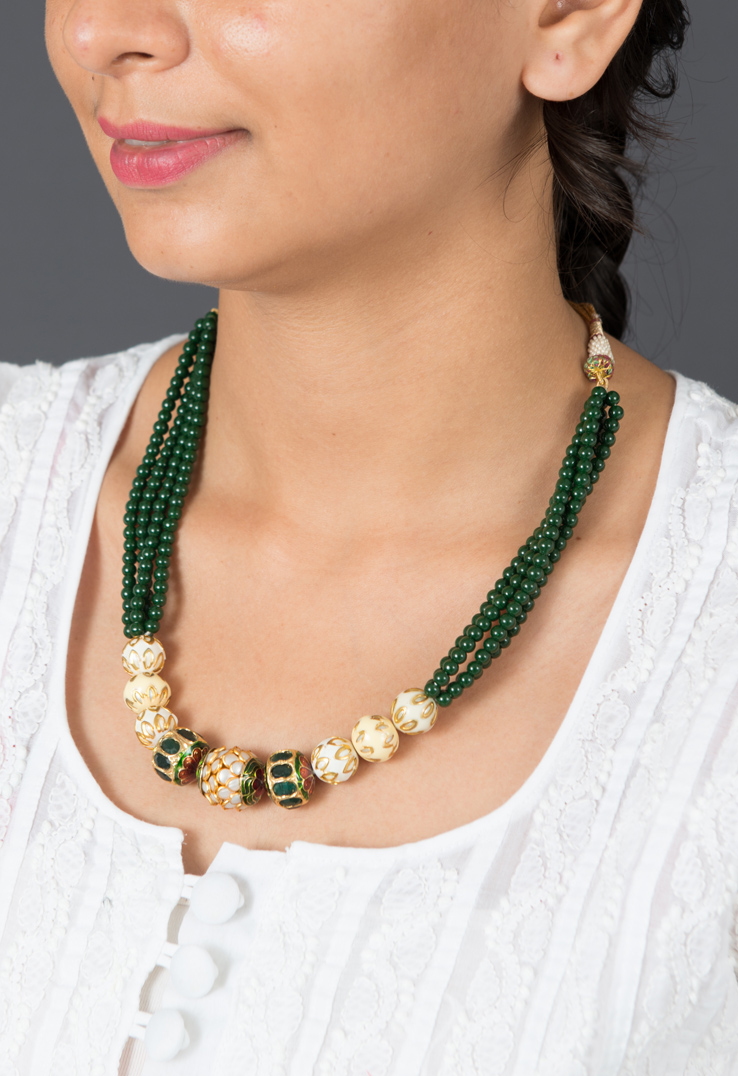 Jade Green Beaded Neckpiece