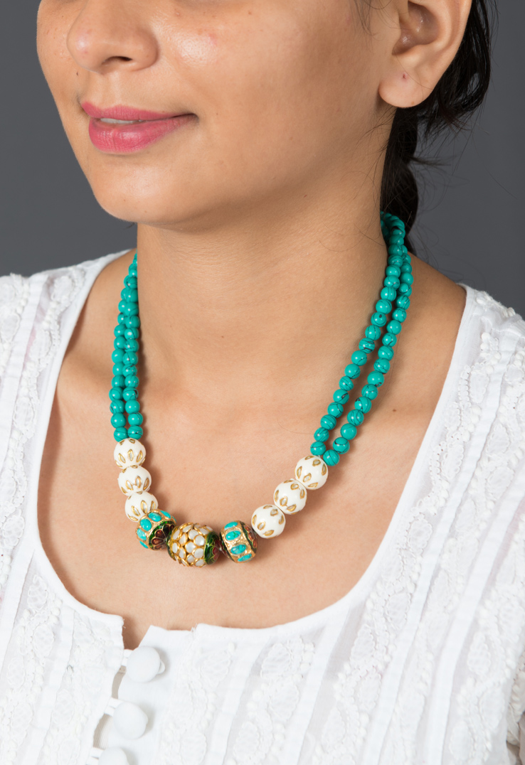 Aqua Green Beaded Neckpiece