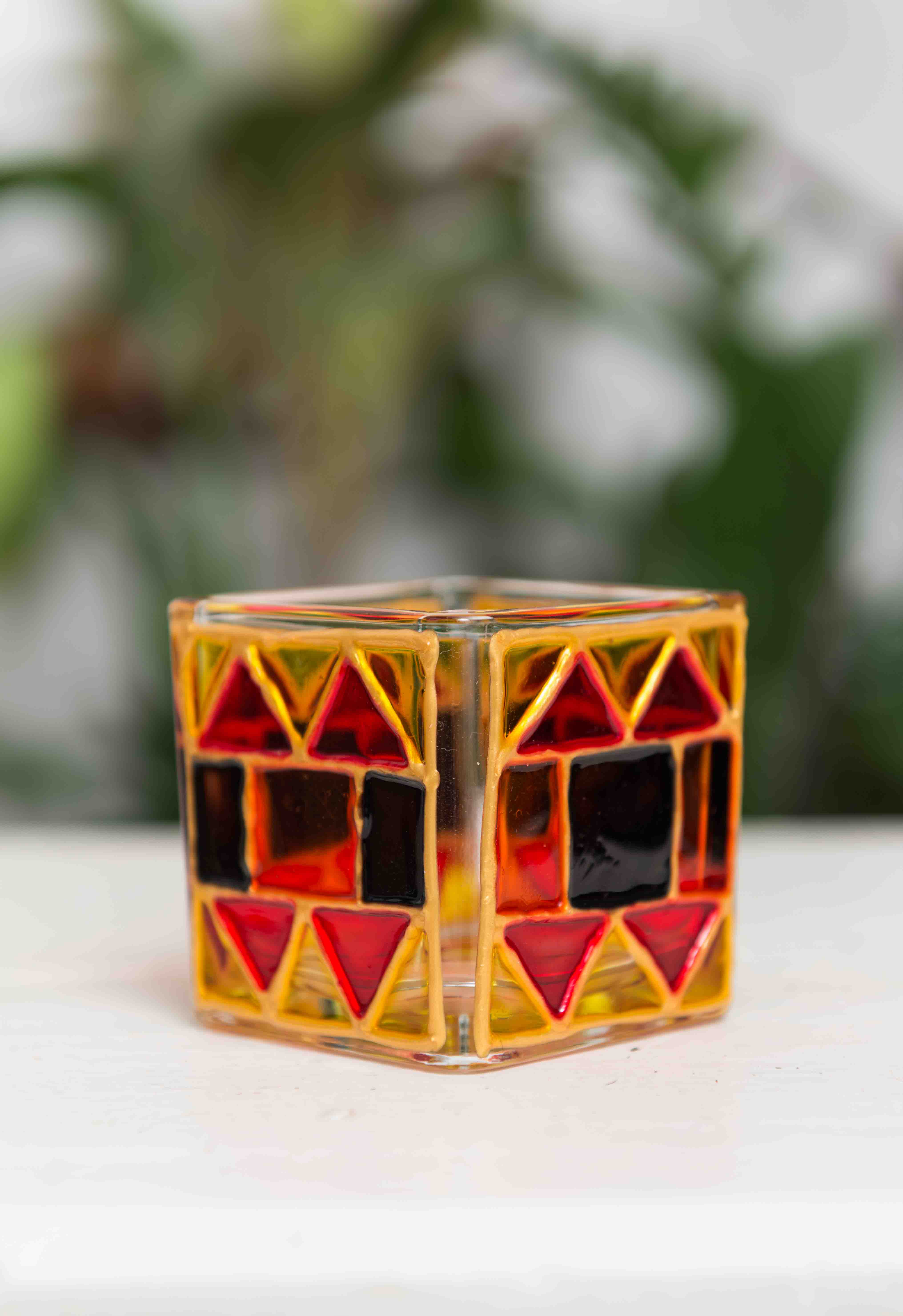 Blue and Red Tealight Holder - set of 2