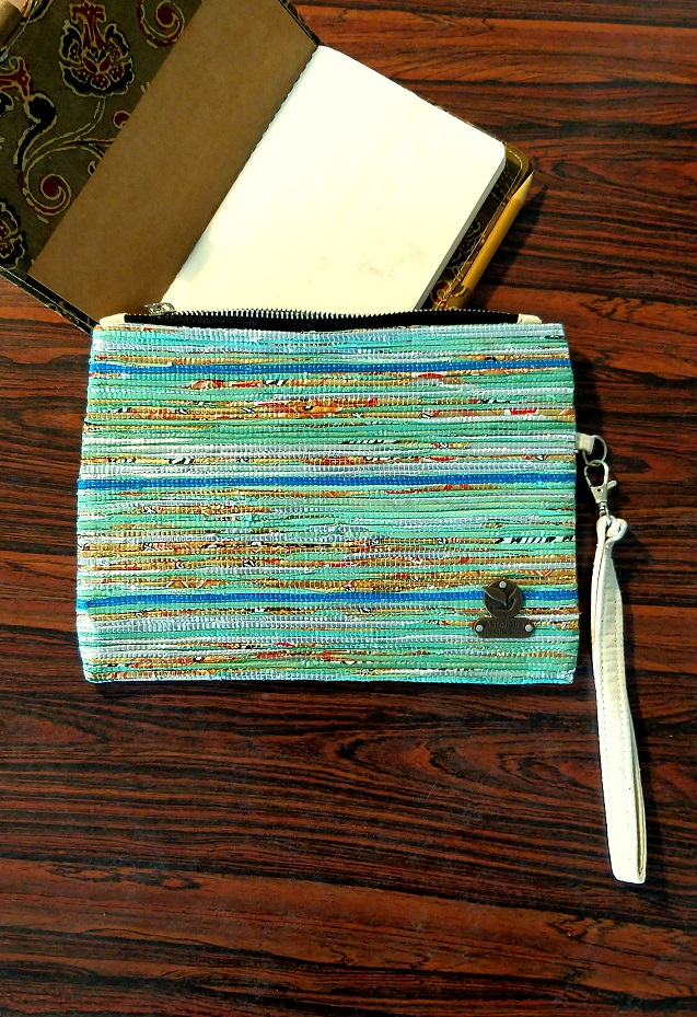 Green Multicolour Upcycled Wristlet