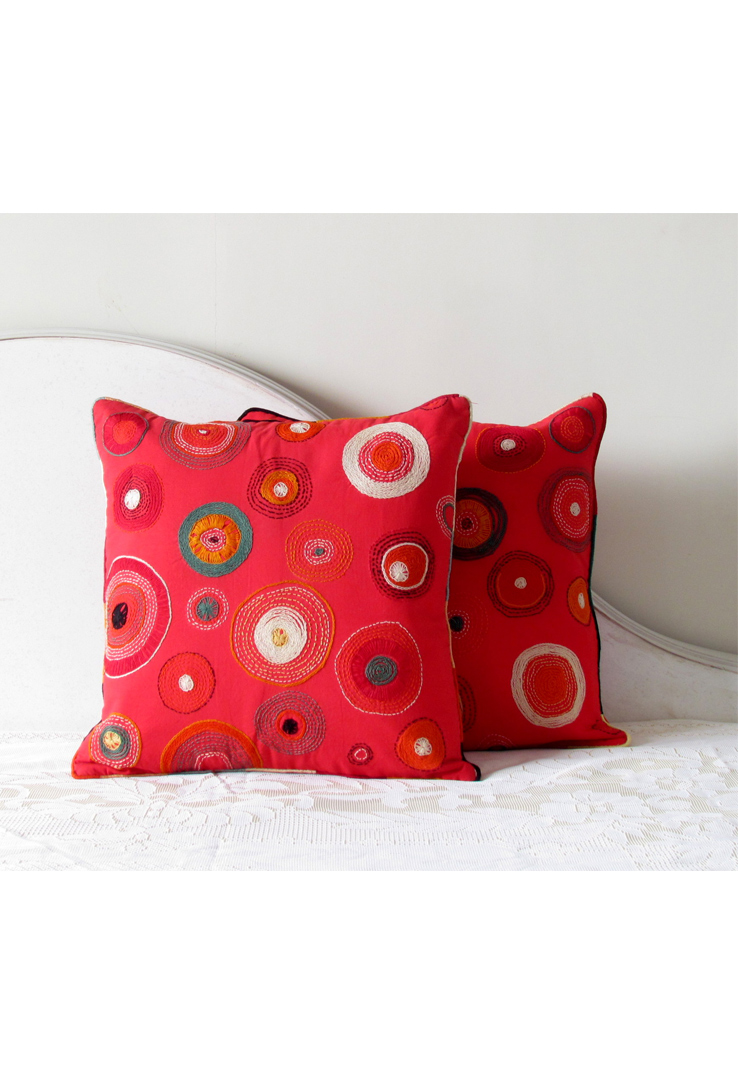 Red Tribal Hand Embroidered Square Cushion Covers - Set of 2