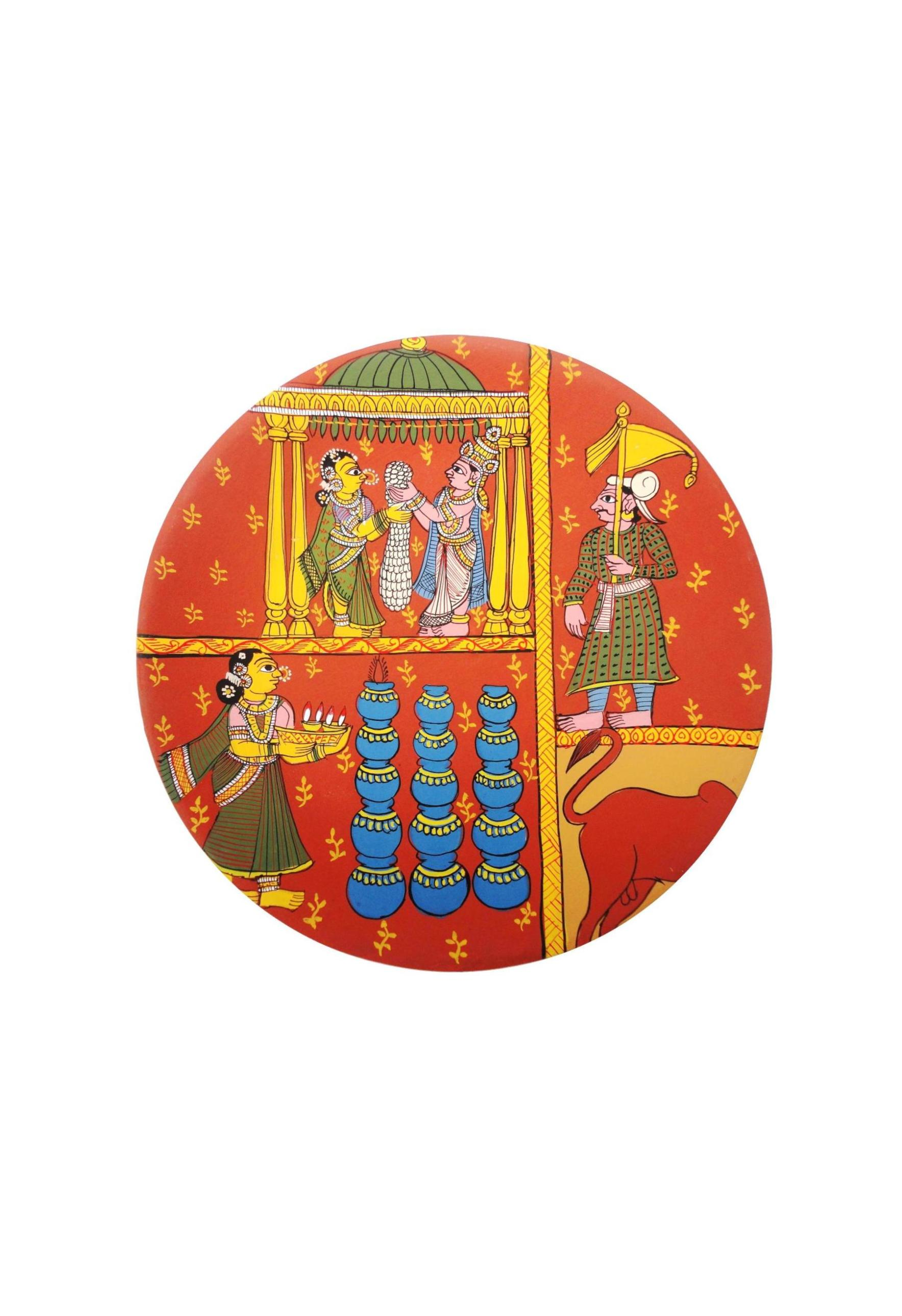 Bride and Groom in Cheriyal Painting