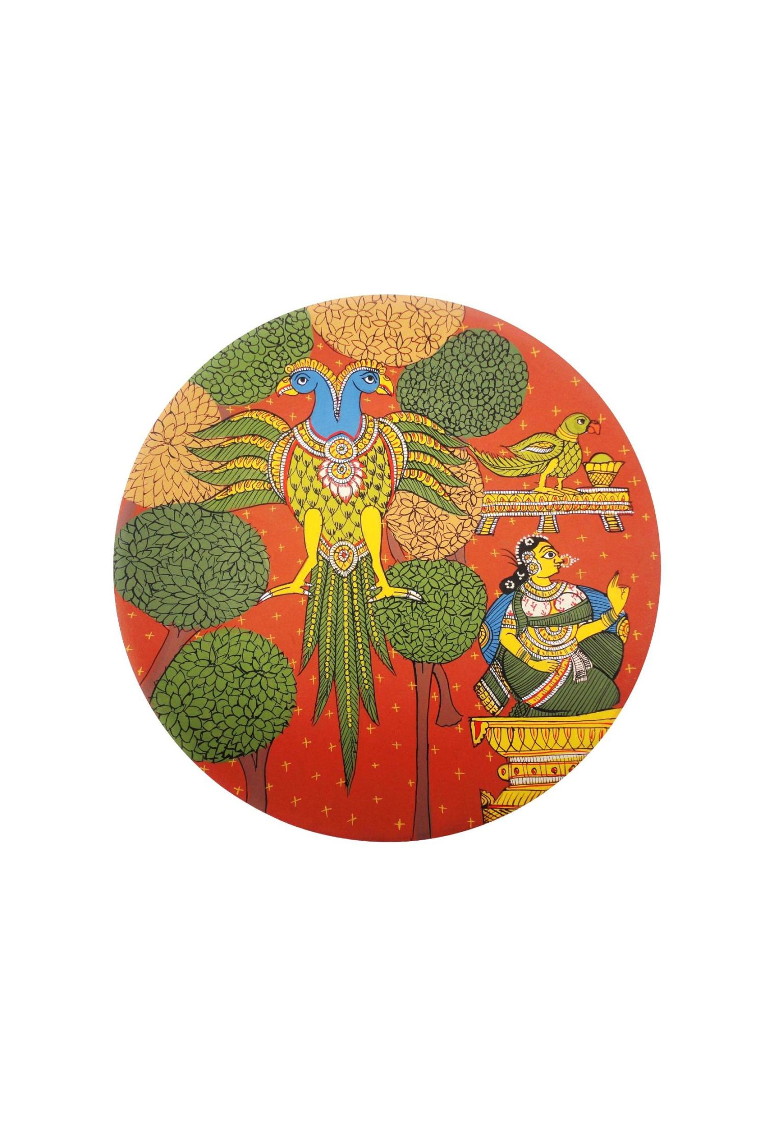 Queen and the Ganda Berunda in Cheriyal Painting