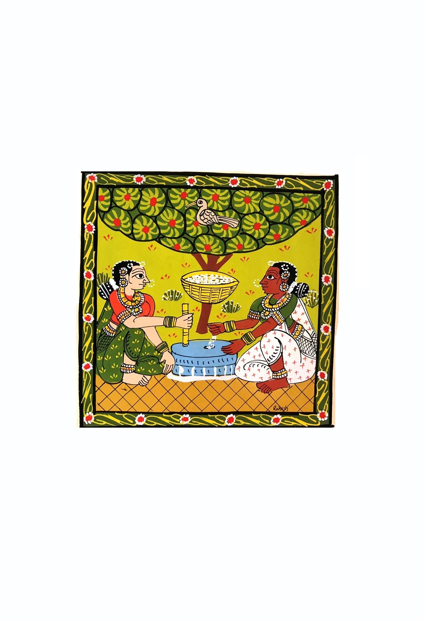 Women at Work in Cheriyal Painting