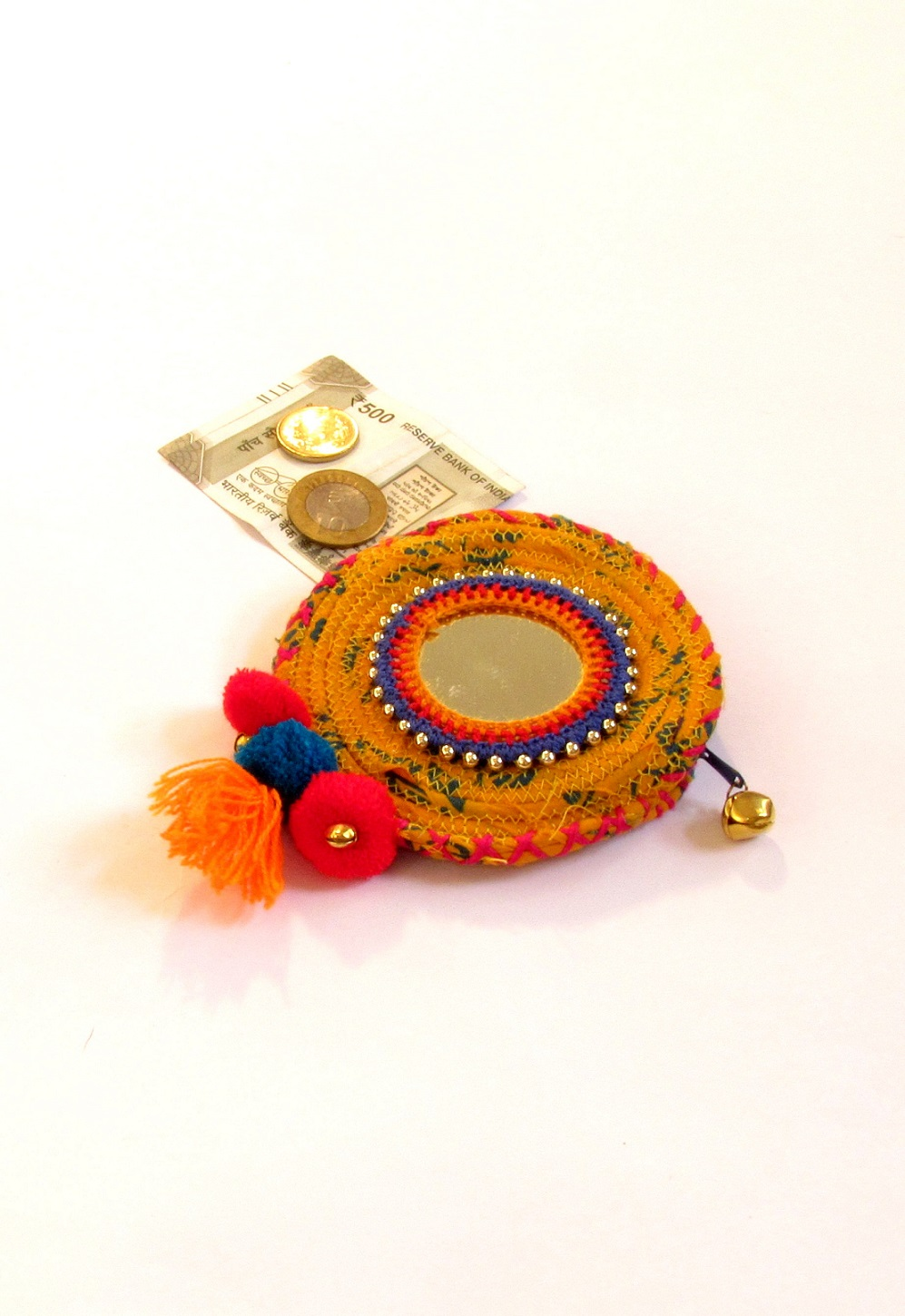 Yellow Mirrorwork Kharchi Coin Purse