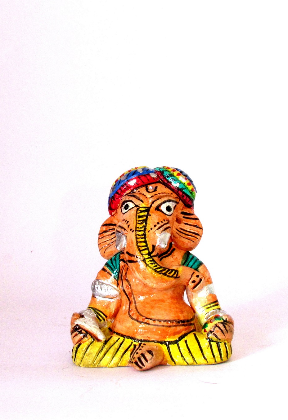 Handcarved & Handpainted Clay Ganapati 8