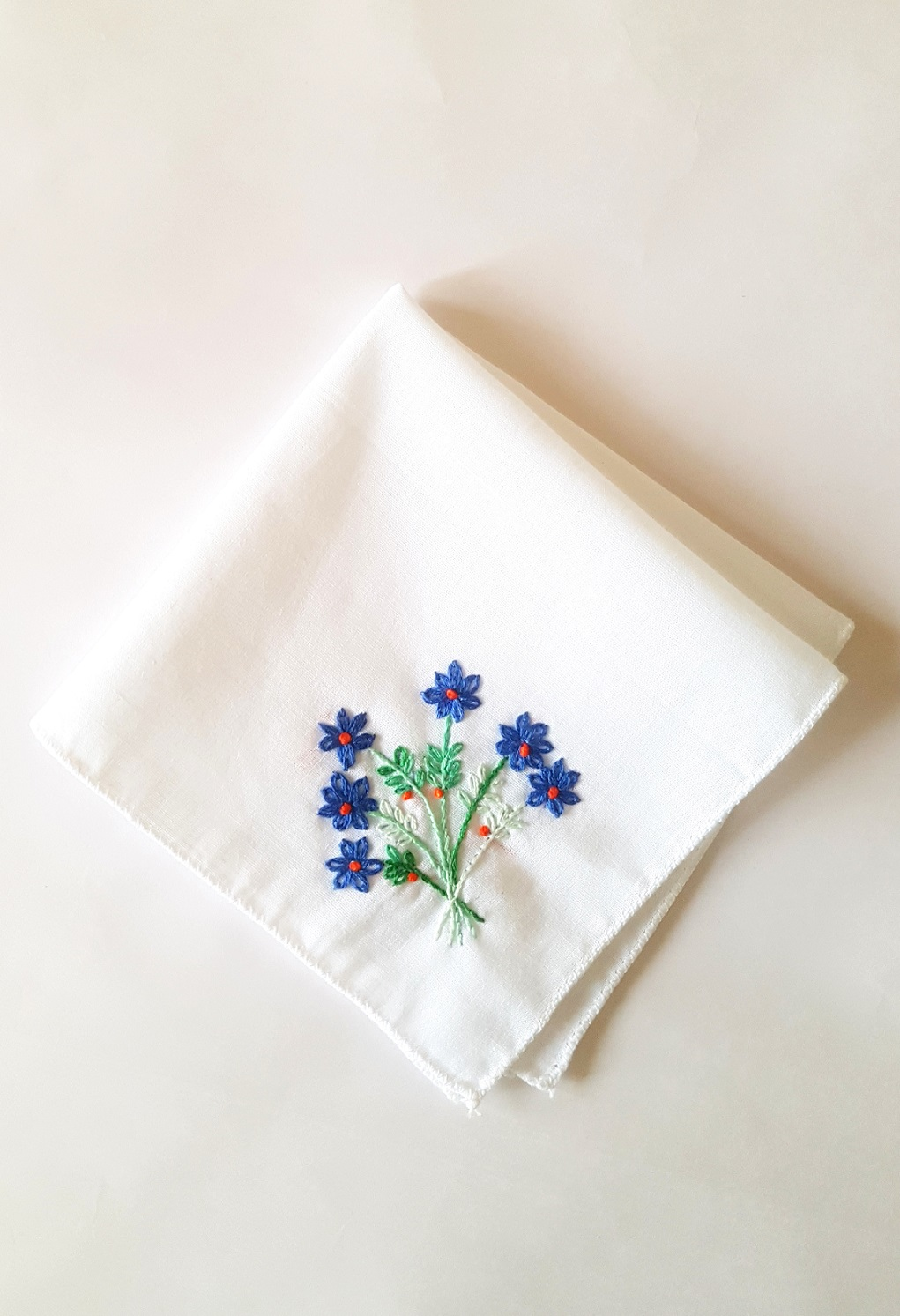 Blue Florals Embroidered on Cotton Kerchiefs