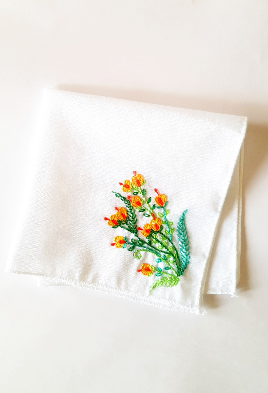 Orange Buds Embroidered on Cotton Kerchiefs