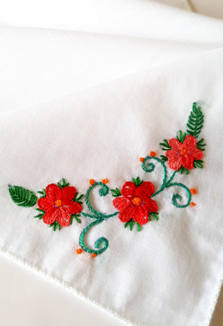 Orange Floral Vines Embroidered on Cotton Kerchiefs