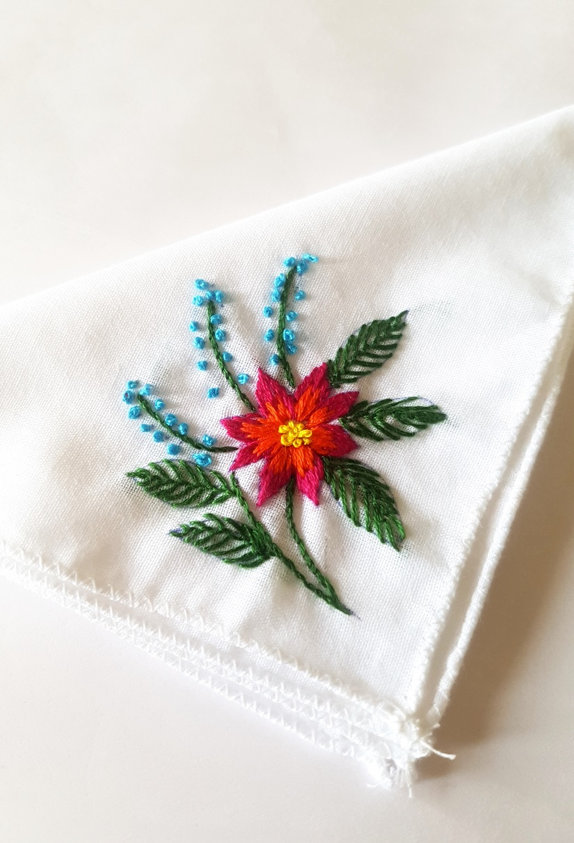 Orange Flower Embroidered on Cotton Kerchiefs