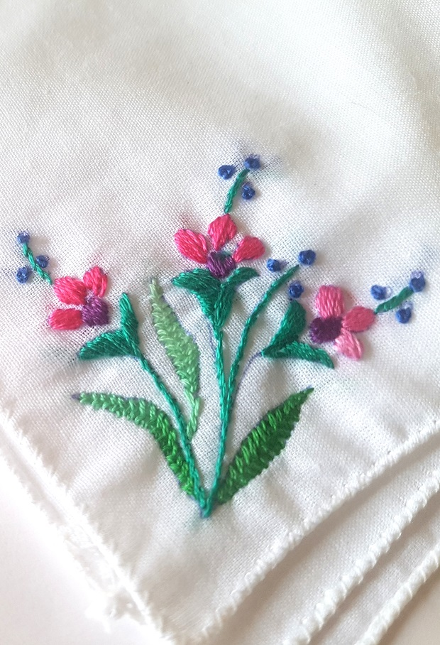 Pink Blooms Embroidered on Cotton Kerchiefs