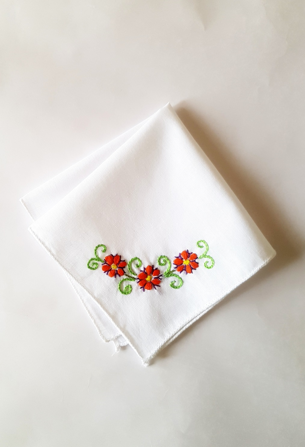 Red Floral Vines Embroidered on Cotton Kerchiefs