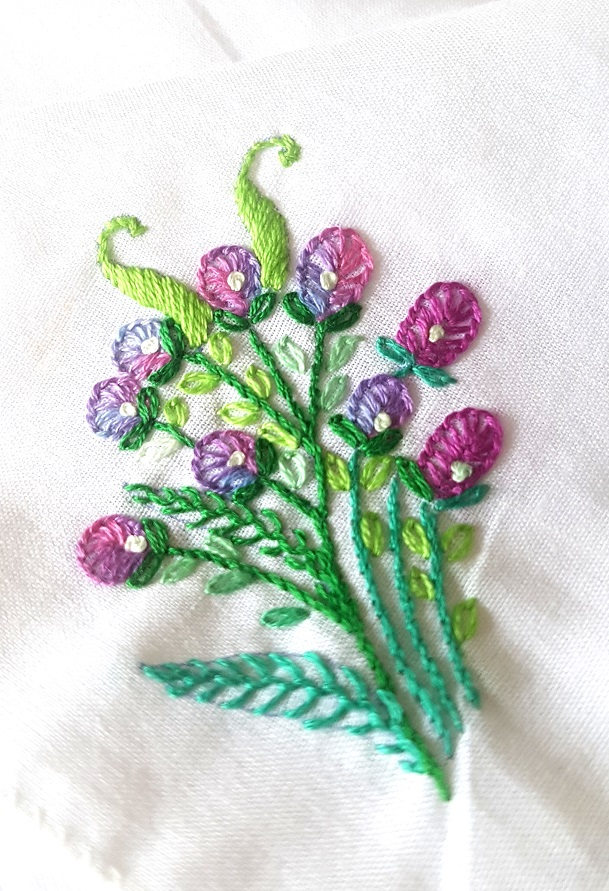 Violet Blooms Embroidered on Cotton Kerchiefs