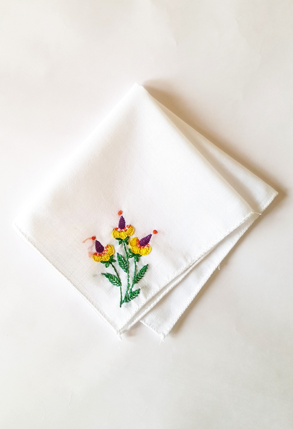 Yellow Buds Embroidered on Cotton Kerchiefs