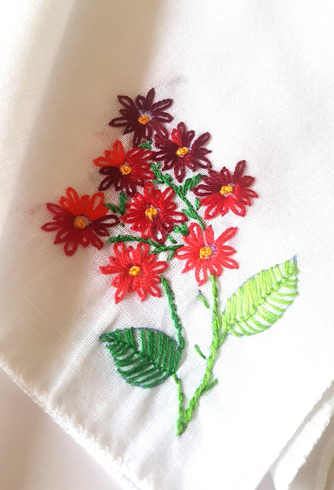 Red Bunch Embroidered on Cotton Kerchiefs