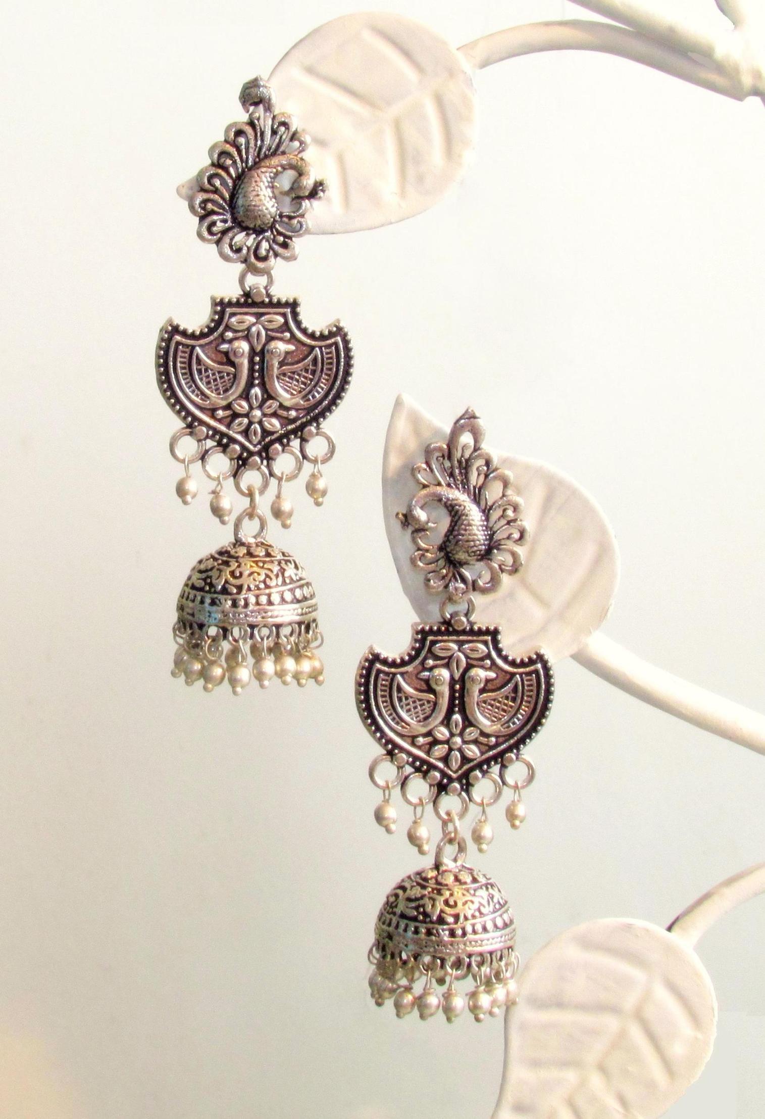 Peacock Oxidised German Silver Earrings