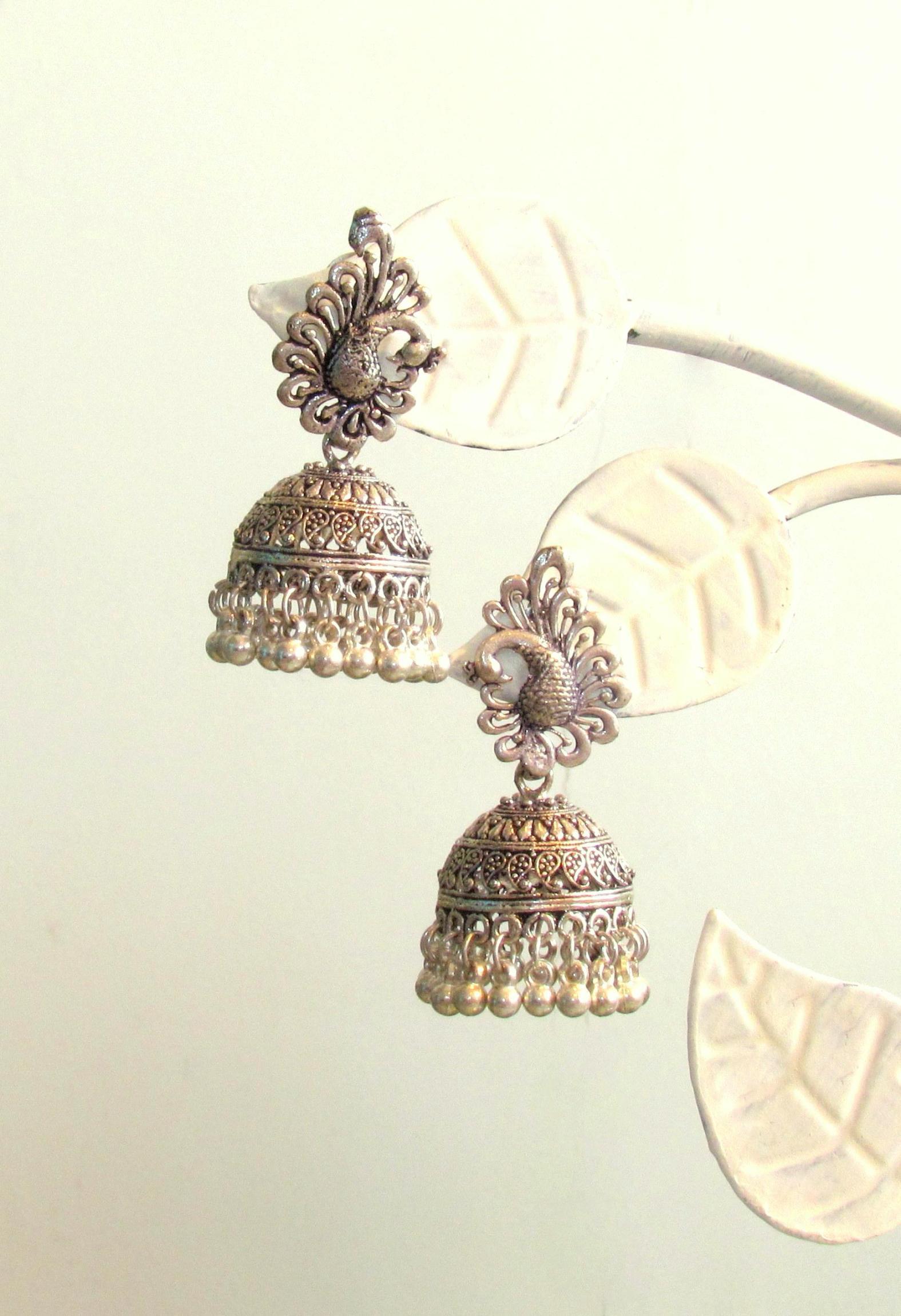Little Peacock German Silver Earrings by Adaa
