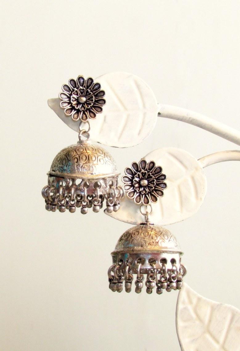 Little Flower Oxidised German Silver Earrings by Adaa