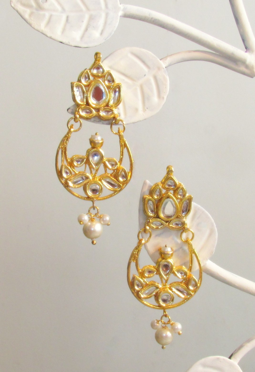 Jadau Lotus Gold Earrings