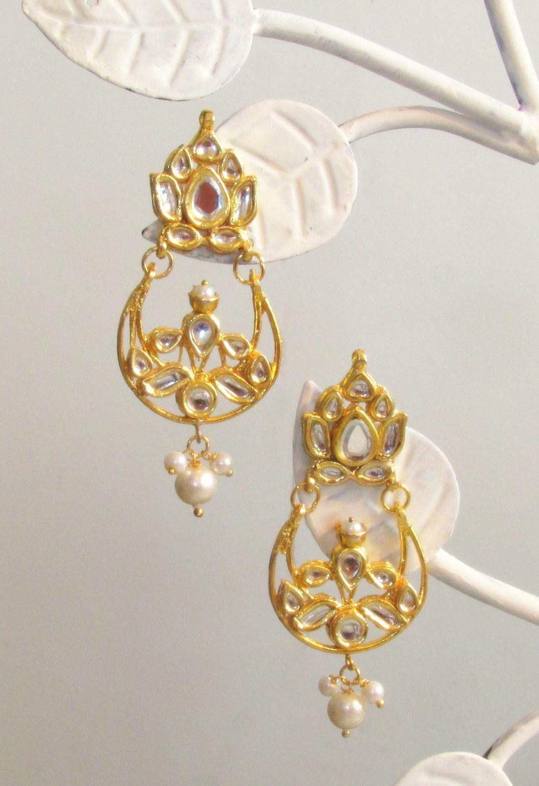 Jadau Lotus Gold Earrings