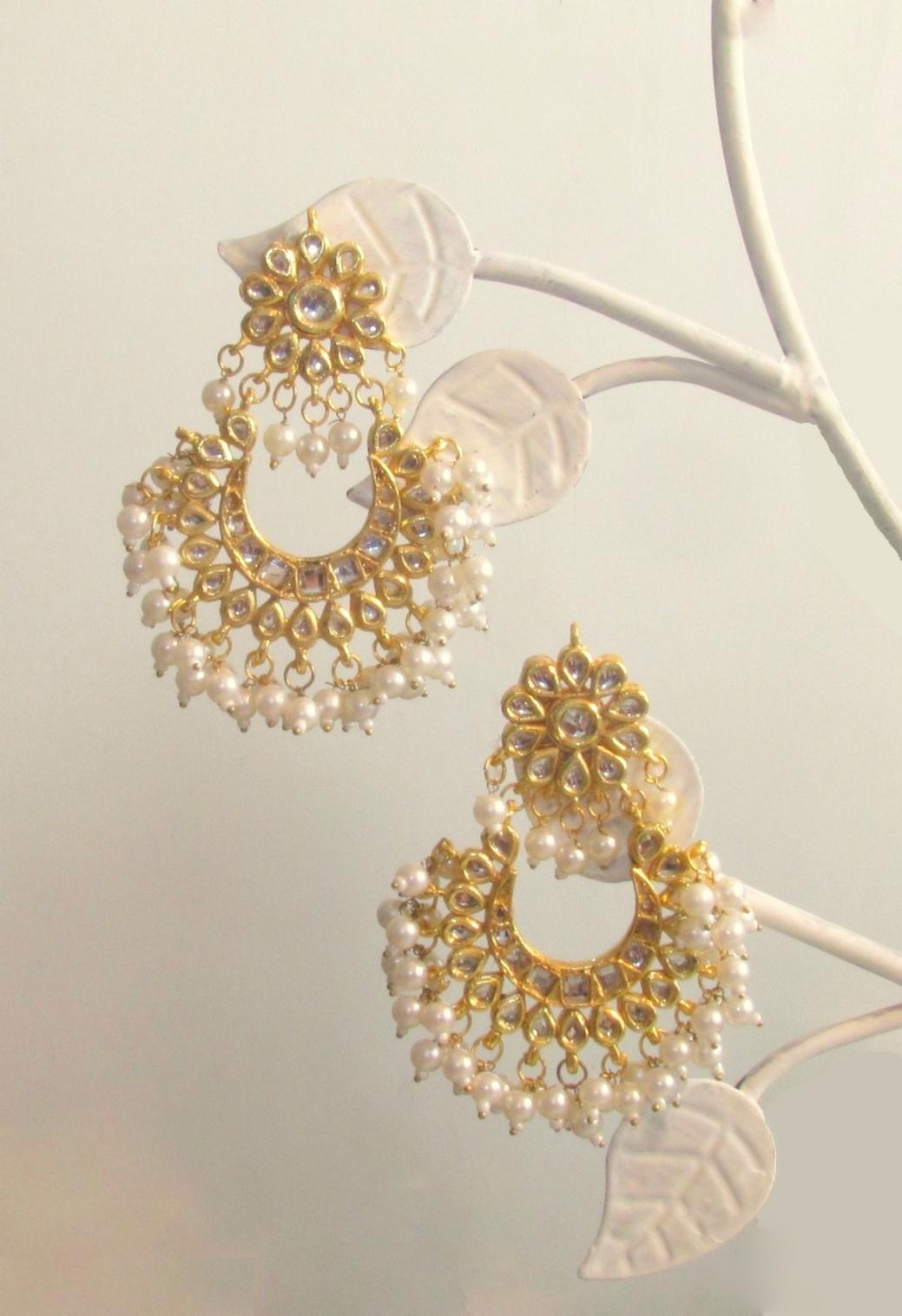 Jadau Loop Gold Earrings