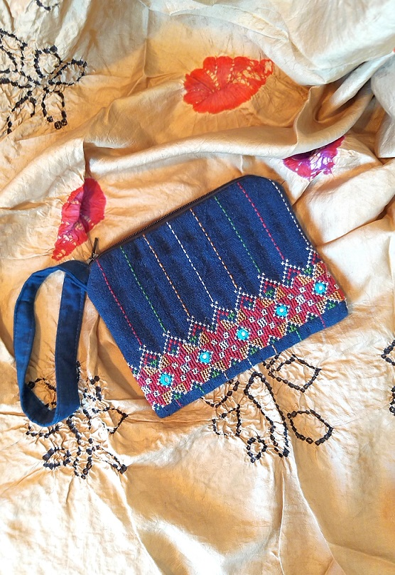 Blue Jat Kutch Hand Embroidery Wrist Pouch