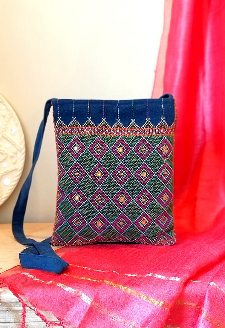 Blue Jat Kutch Hand Embroidery Sling Bag