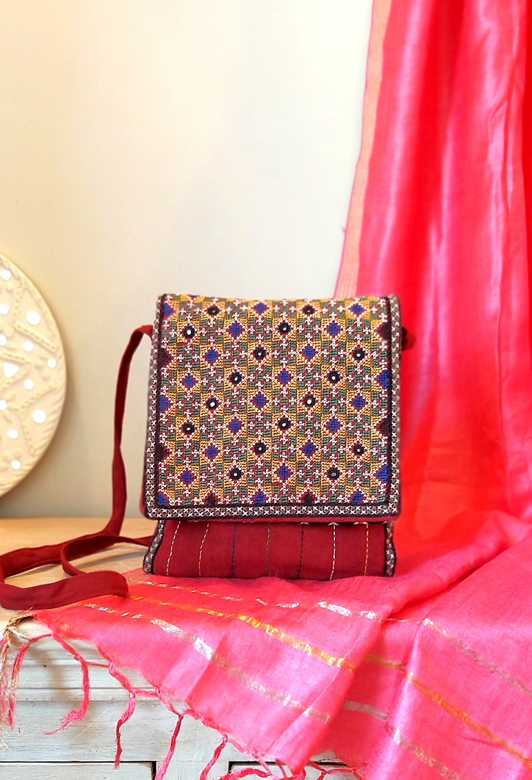 Red Jat Kutch Hand Embroidery iPad Sling Bag