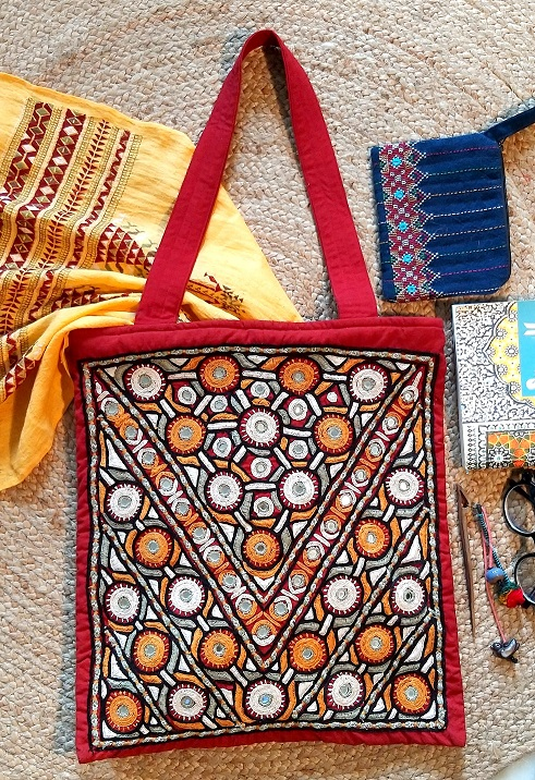 Red Pakko Kutch Hand Embroidery Shoulder Bag