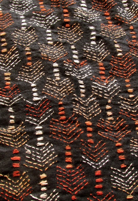 Black Arrow Handembroidered Kantha BlouseFabric
