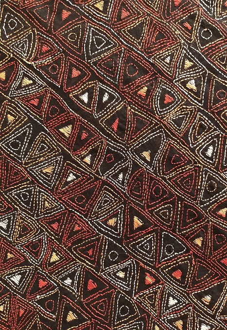 Black Triangles Handembroidered Kantha BlouseFabric
