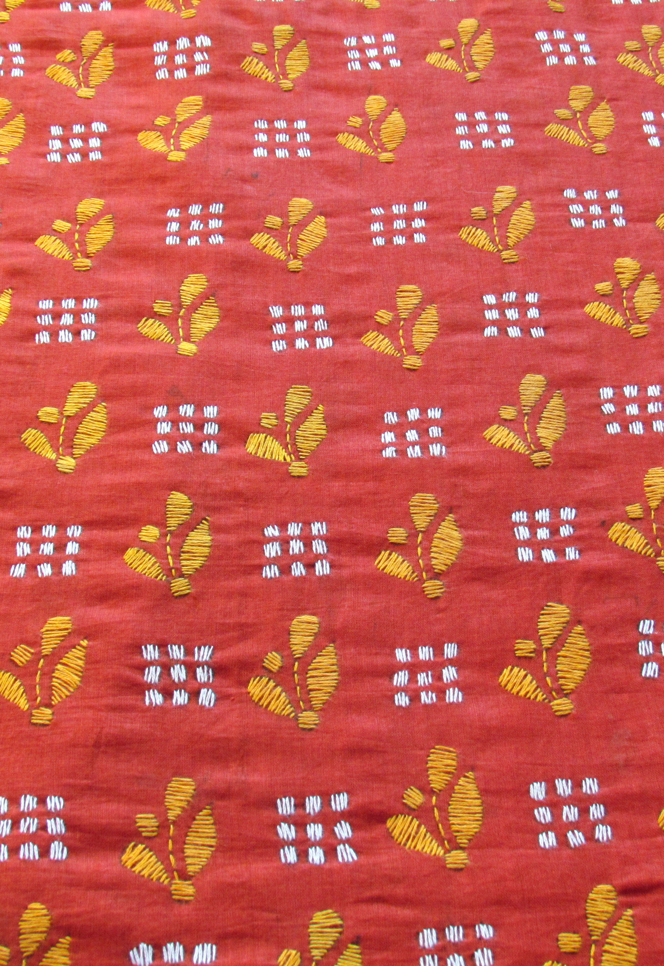 Mud Red Handembroidered Kantha BlouseFabric