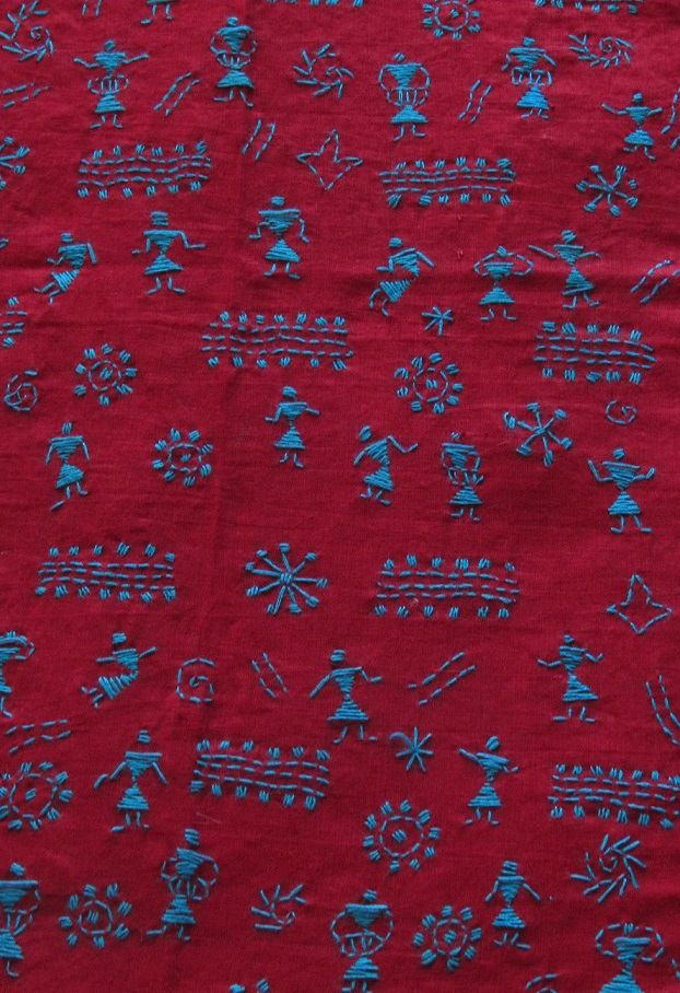 Red Blue Handembroidered Kantha BlouseFabric
