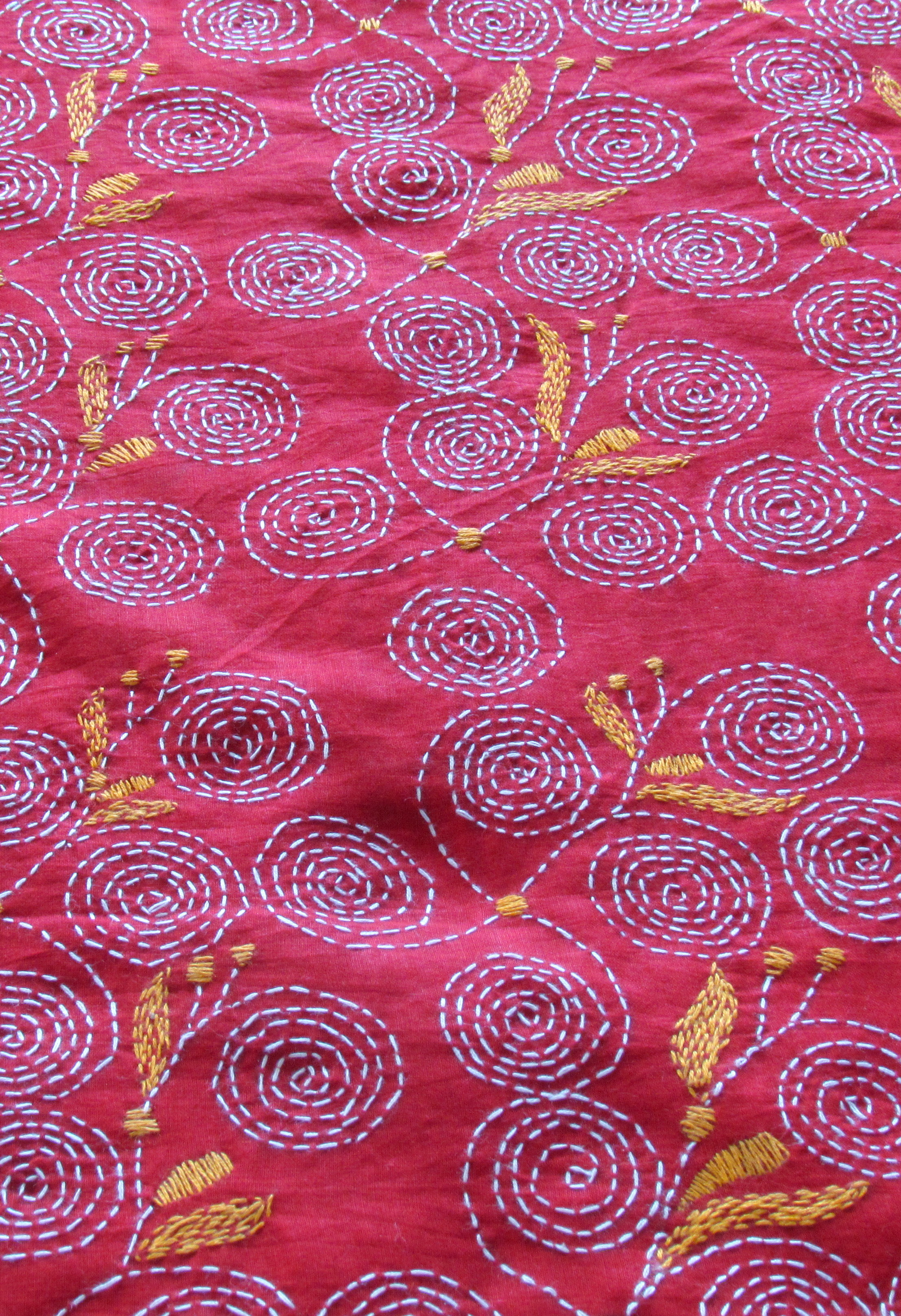 Red Leaf Handembroidered Kantha BlouseFabric