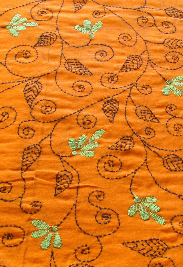 Orange Floral Handembroidered Kantha BlouseFabric