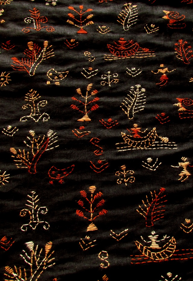 Black Fields Handembroidered Kantha BlouseFabric