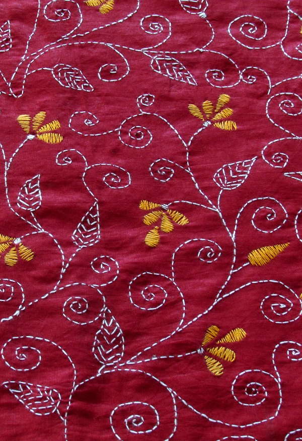 Red Floral Handembroidered Kantha BlouseFabric