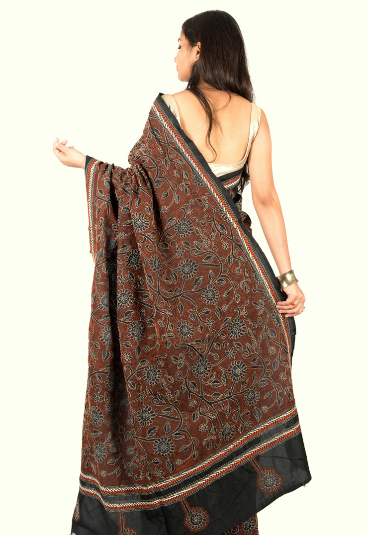 Black Nakshi Kantha Saree