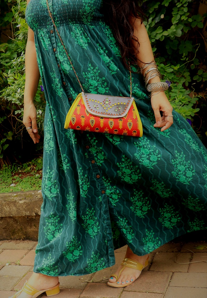 Red Mashroo Print and Leather Clutch and Sling Bag