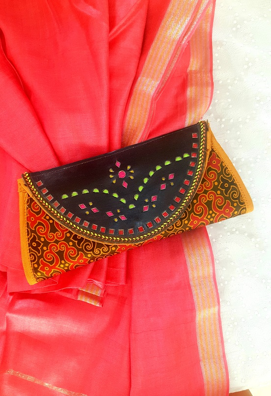 Gold Ajrakh Print and Leather Clutch
