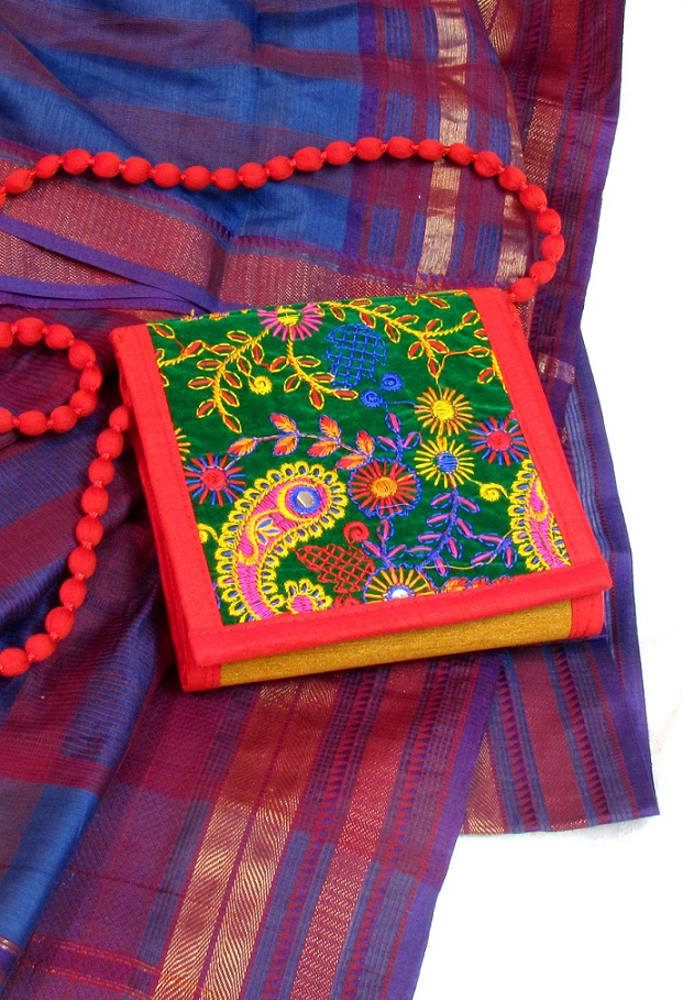 Green and Gold Kutch Embroidered Sling Box Bag