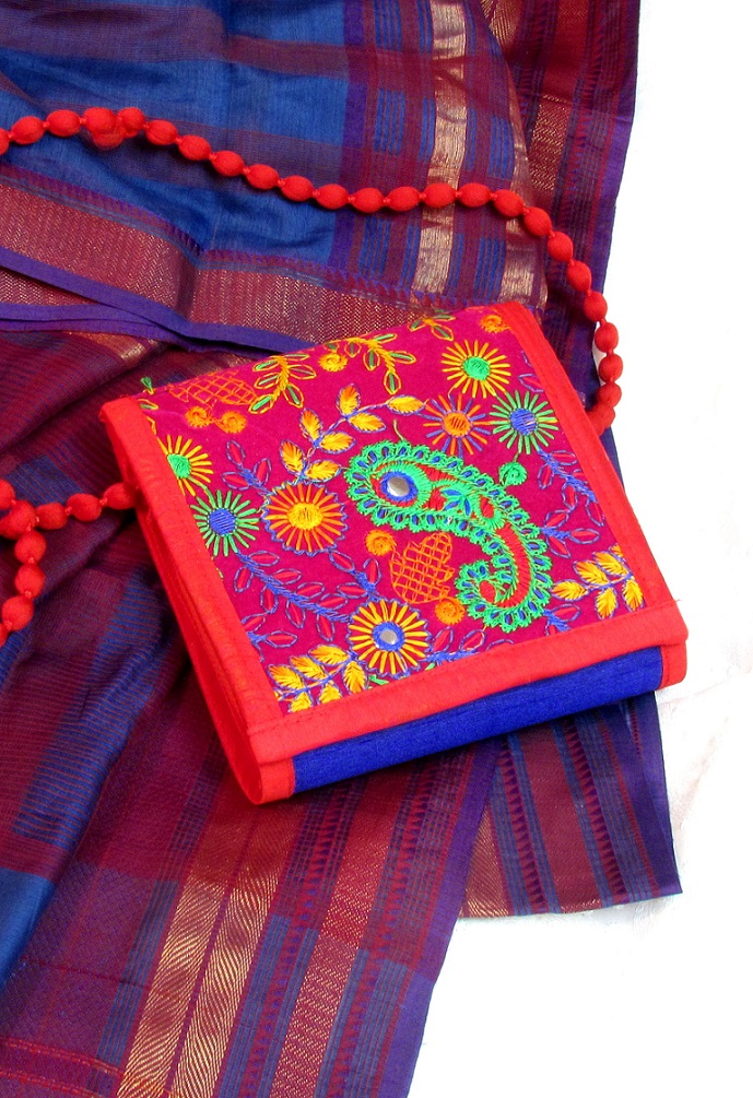 Red and Blue Kutch Embroidered Sling Box Bag