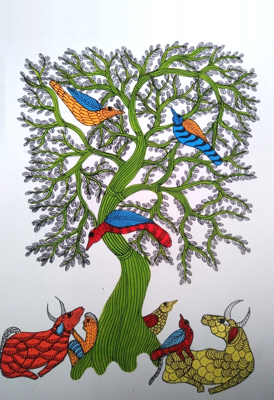 Herdsman And His Cattle Gond Art
