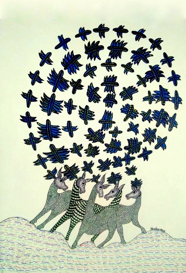Deer and Birds in Flight Gond Art