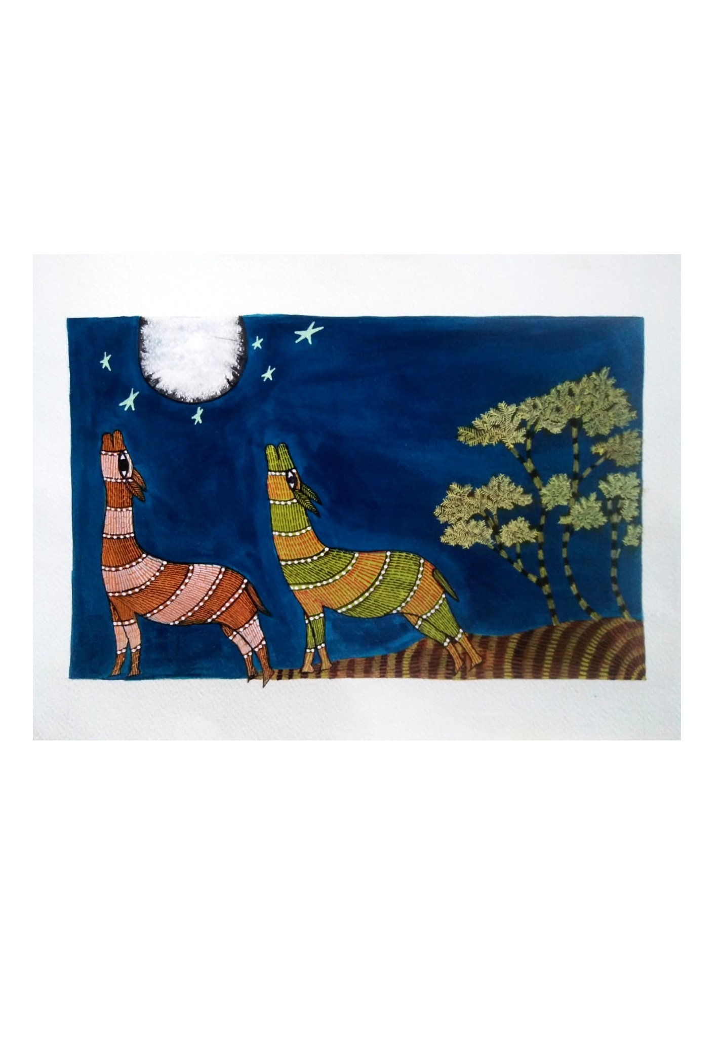 Fox & Moon Gond Art