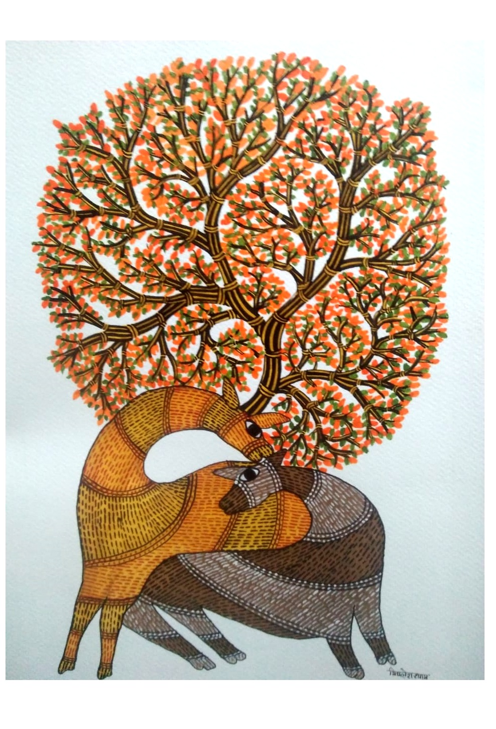 Deer And A Tree Gond Art