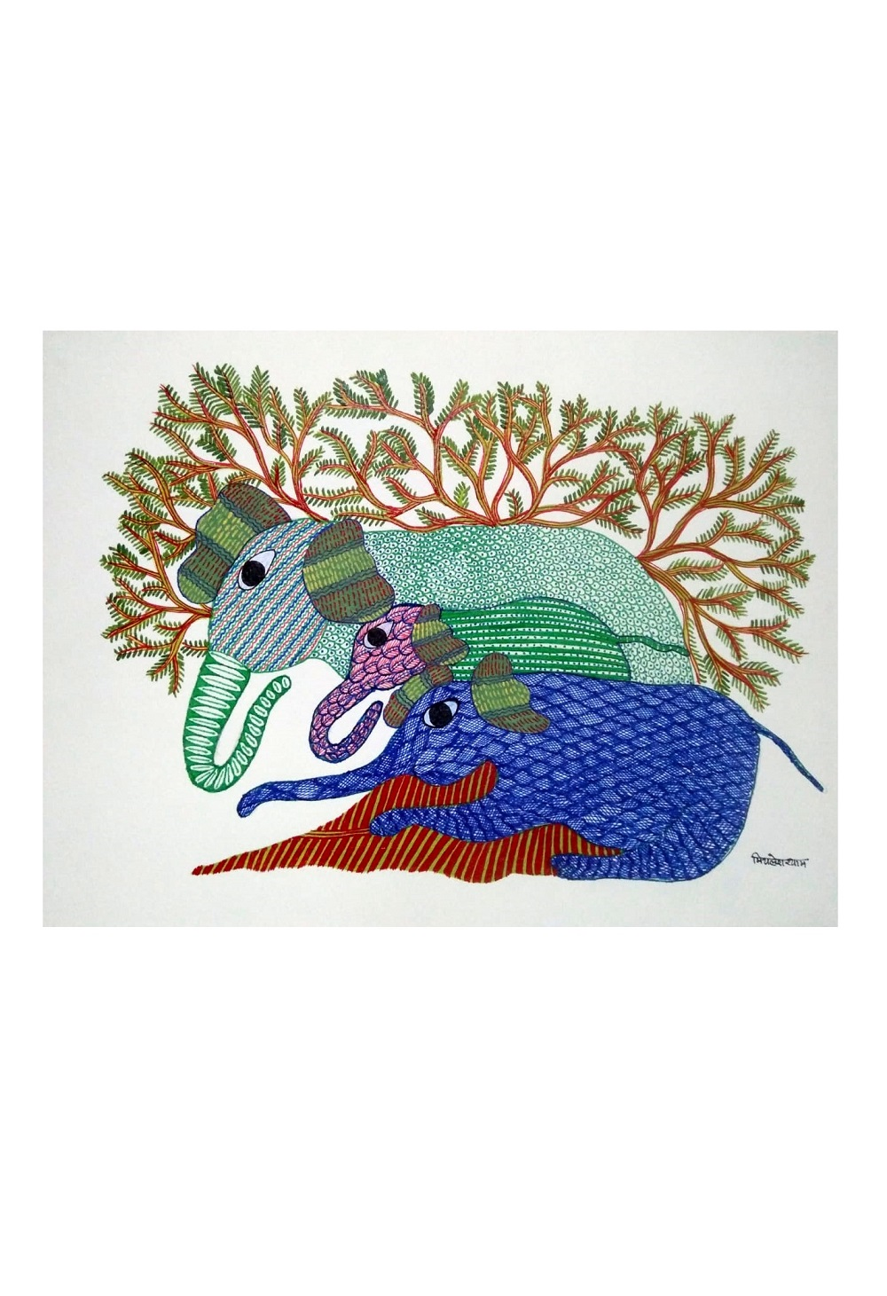 Elephant Family Gond Art