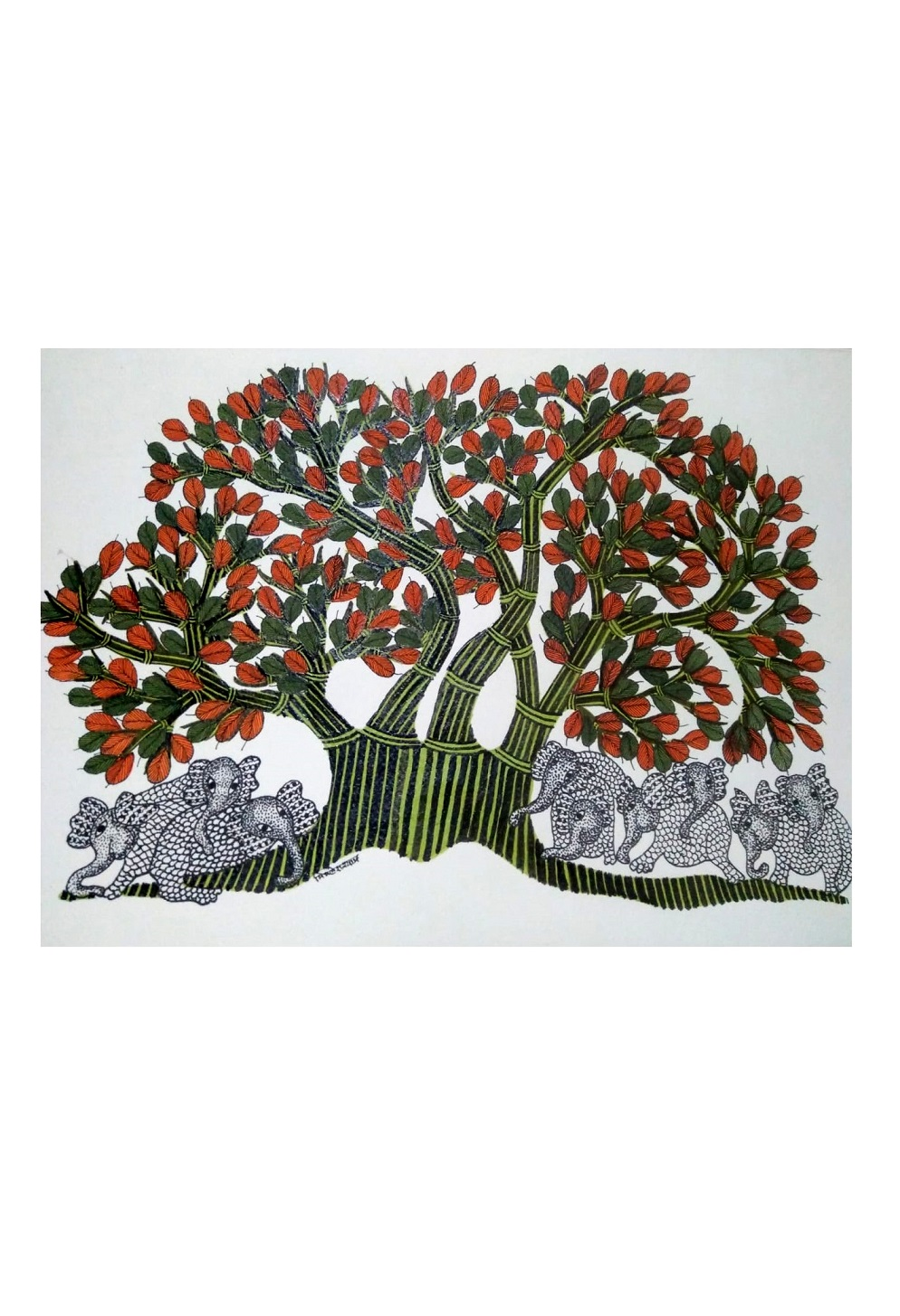 Elephants under Trees Gond Art